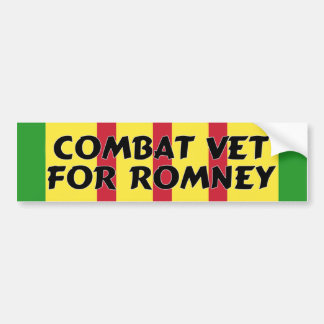 Combat Veteran For Romney Bumper Sticker