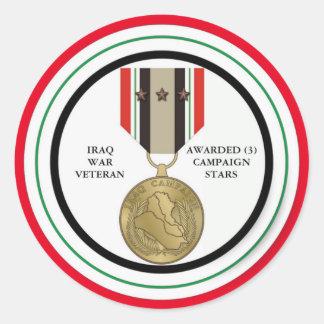 COMBATTANT D'IRAK DE 3 ÉTOILES DE CAMPAGNE STICKER ROND