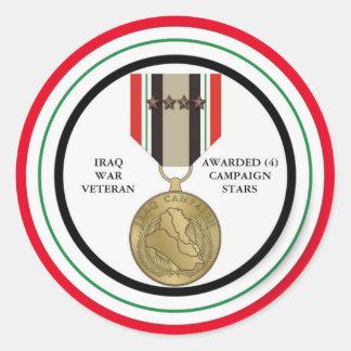 COMBATTANT D'IRAK DE 4 ÉTOILES DE CAMPAGNE STICKER ROND