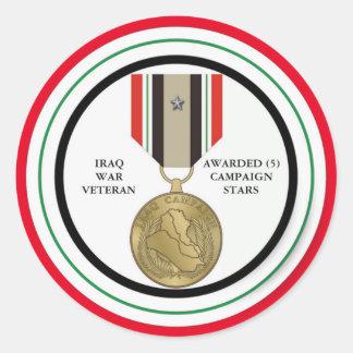 COMBATTANT D'IRAK DE 5 ÉTOILES DE CAMPAGNE STICKER ROND
