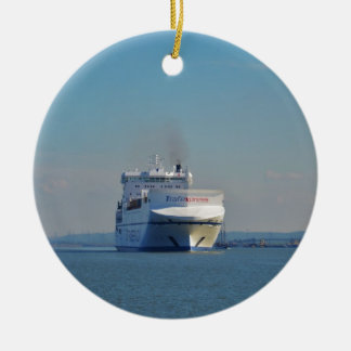 Combined Ferry And Container Ship Round Ceramic Ornament