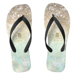 Combo Glitter Gradient Opal Gold ID435 Flip Flops