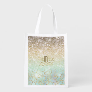 Combo Glitter Gradient Opal Gold ID435 Reusable Grocery Bag