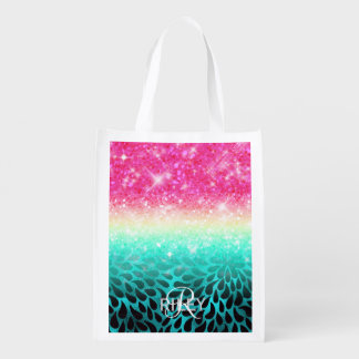 Combo Glitter Gradient to Petals ID433 Reusable Grocery Bag