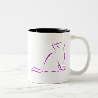 Combo: logo/pink cat, white fill Two-Tone coffee mug