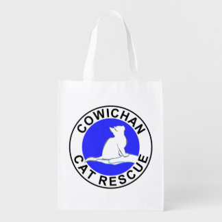Combo: logo/rainbow cat, white fill reusable grocery bag