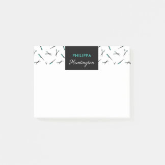 Combs & Scissors - Black & Turquoise - Add Name Post-it Notes