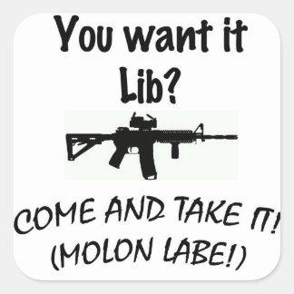 Come and take it LIB! Square Sticker