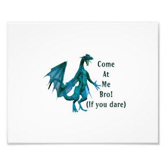 come at me bro dragon teal photo art