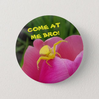 Come At  Me Bro! Yellow Crab Spider Meme 2 Inch Round Button