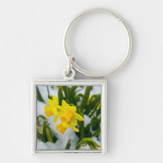 Come on Spring Time Silver-Colored Square Keychain