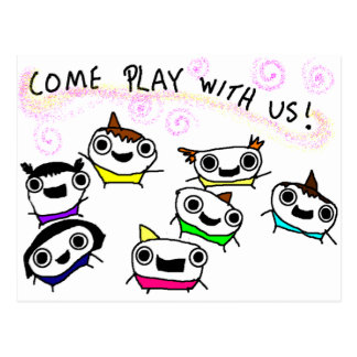"""""""Come play with us"""" Postcard"""