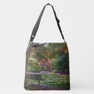 """""""Come rest"""" autumn park tote bag with bible verse"""