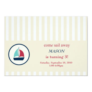 "come sail away 5"" x 7"" invitation card"