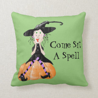 Come Sit A Spell Witch Halloween Pillow