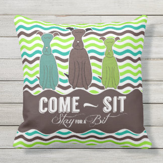 Come Sit Stay for a Bit Pet Lovers Outdoor Pillow