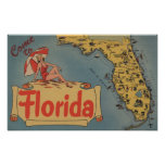 Come to Florida Map of the State, Pin-Up Girl Print
