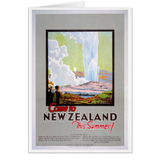 Come to New Zealand Vintage Travel Poster Card