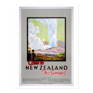 Come to New Zealand Vintage Travel Poster Postcard