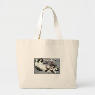 """Come To Papa"" Cat Large Tote Bag"