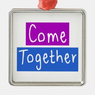 Come Together Silver-Colored Square Ornament