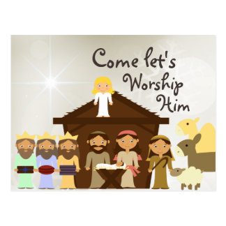 Come Worship Him Nativity Christmas Postcard
