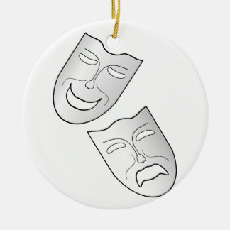 Comedy and Tragedy Faces/Masks Round Ceramic Ornament
