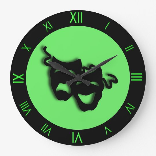 Comedy and Tragedy Neon Green Theatre Wall Clock