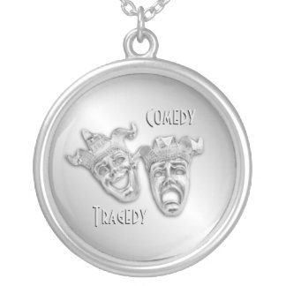 Comedy and Tragedy Silver Theater Silver Plated Necklace