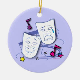 Comedy and Tragedy Stylized Drama Masks Ceramic Ornament
