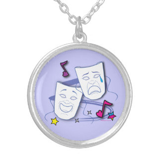 Comedy and Tragedy Stylized Drama Masks Silver Plated Necklace