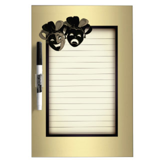 Comedy and Tragedy Theater Gold Dry Erase Board