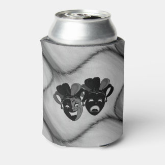 Comedy and Tragedy Theater Jester Masks Silver Can Cooler