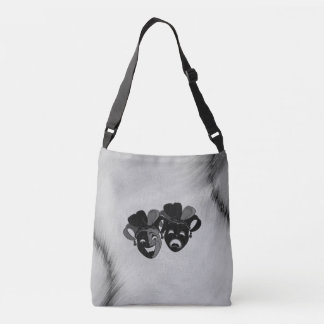 Comedy and Tragedy Theater Jester Masks Silver Crossbody Bag