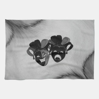 Comedy and Tragedy Theater Jester Masks Silver Kitchen Towel
