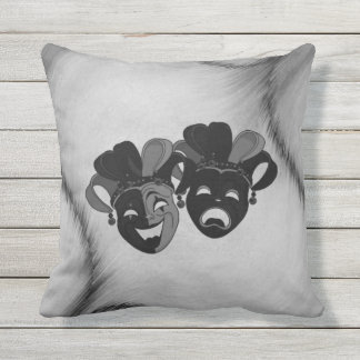 Comedy and Tragedy Theater Jester Masks Silver Outdoor Pillow