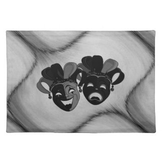 Comedy and Tragedy Theater Jester Masks Silver Placemat