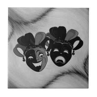 Comedy and Tragedy Theater Jester Masks Silver Tile
