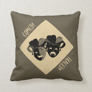 Comedy and Tragedy Theater Masks 2 in 1 Throw Pillow