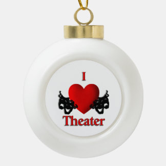 Comedy and Tragedy Theater Masks Ceramic Ball Ornament