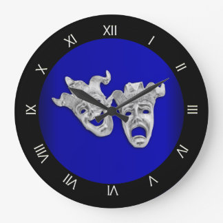 Comedy and Tragedy Theater Masks Cobalt Large Clock