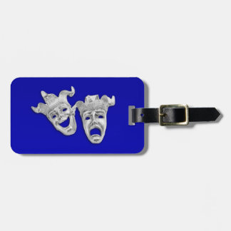 Comedy and Tragedy Theater Masks Cobalt Luggage Tag