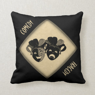 Comedy and Tragedy Theater Masks Throw Pillow