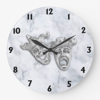 Comedy and Tragedy Theater Masks White Marble Large Clock