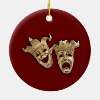 Comedy and Tragedy Theater Round Ceramic Ornament