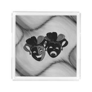 Comedy and Tragedy Theatre Jester Masks Silver Acrylic Tray