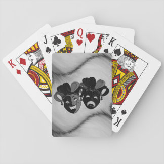 Comedy and Tragedy Theatre Jester Masks Silver Playing Cards