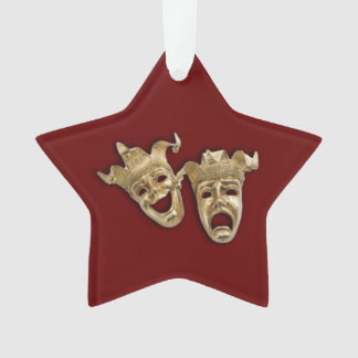 Comedy and Tragedy Theatre Masks Maroon Ornament