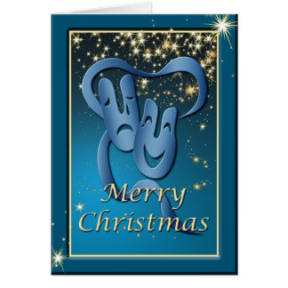 Comedy Tragedy Blue Theatre Mask Christmas Card