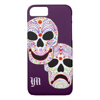 Comedy-Tragedy Halloween DOTD Skulls monogram iPhone 7 Case